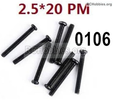 Wltoys 12427 Screws Parts. 12427-00106. M2.5X20 PM,Cross recessed pan head screws. Total 8pcs.