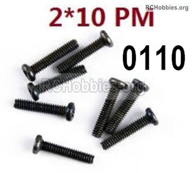 Wltoys 12427 Screws Parts. 12427-00110. M2X10 PM,Cross recessed pan head screws. Total 8pcs.