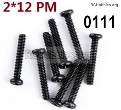 Wltoys 12427 Screws Parts. 12427-00111. M2X12 PM,Cross recessed pan head screws. Total 8pcs.
