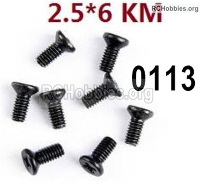 Wltoys 12427 Screws Parts. 12427-00113. M2.5X6 KM,Cross recessed Flat head screws. Total 8pcs.