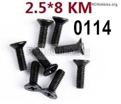 Wltoys 12427 Screws Parts. 12427-00114. M2.5X8 KM,Cross recessed Flat head screws. Total 8pcs.