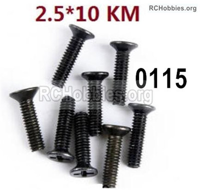 Wltoys 12427 Screws Parts. 12427-00115. M2.5X10 KM,Cross recessed Flat head screws. Total 8pcs.