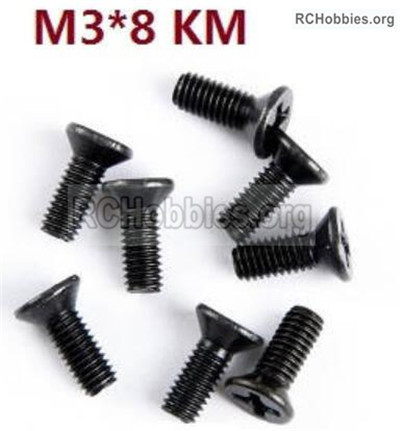 Wltoys 12427 Screws Parts. 12427-00117-M3X8 KM,Cross recessed Flat head screws. Total 8pcs.