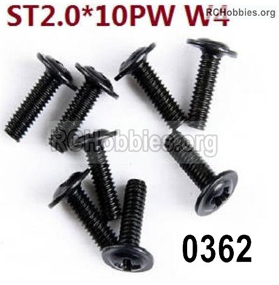 Wltoys 12427 Screws Parts. 12427-0362 Screws. ST2x10PW-W4-. Total 8pcs.