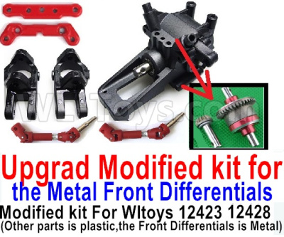 Wltoys 12428-A RC Car Parts-Upgrad Modified kit for the Metal Front Differentials-Option 1(Front Differentials assembly is Metal,other parts is plastic