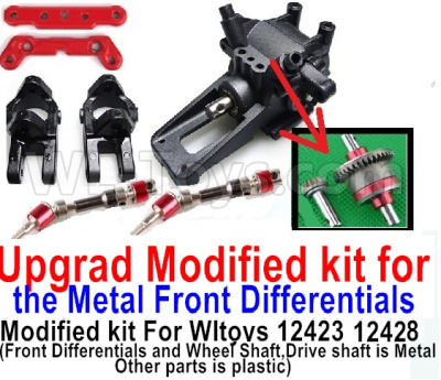 Wltoys 12428-A RC Car Parts-Upgrad Modified kit for the Metal Front Differentials-Option 2(Front Differentials assembly and Wheel shaft is Metal,other parts is plastic)
