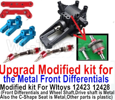 Wltoys 12428-A RC Car Parts-Upgrad Modified kit for the Metal Front Differentials-Option 3(Front Differentials assembly,Wheel shaft and C-Shape Seat is Metal,other parts is plastic)