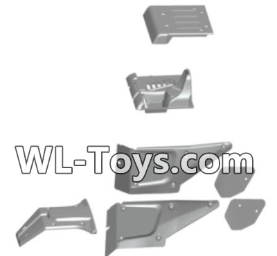Wltoys 18428 RC Car Parts-The left and Right Body shell cover& Left and Right Tail wing-Black-0461,Wltoys 18428 Parts