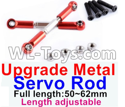 Wltoys 12429 RC Car Upgrade Metal Servo Rod(2pcs)-Red-(Full length-50-62mm)-Length adjustable,Wltoys 12429 Parts