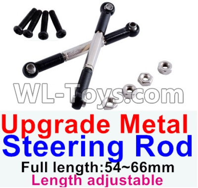 Wltoys 12429 RC Car Upgrade Metal steering rod(2pcs)-Black-(Full length-54~66mm)-Length adjustable,Wltoys 12429 Parts