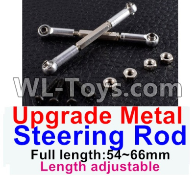 Wltoys 12429 RC Car Upgrade Metal steering rod(2pcs)-Silver-(Full length-54~66mm)-Length adjustable,Wltoys 12429 Parts