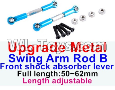 Wltoys 12429 RC Car Upgrade Metal Swing arm Rod B,Front shock absorber lever(2pcs)-Light Blue-(Full length-50-62mm)-Length adjustable-12429.1172