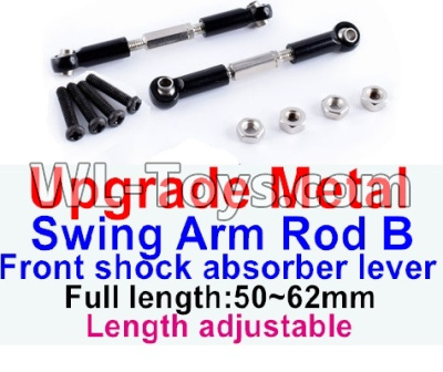 Wltoys 12429 RC Car Upgrade Metal Swing arm Rod B,Front shock absorber lever(2pcs)-Black-(Full length-50-62mm)-Length adjustable