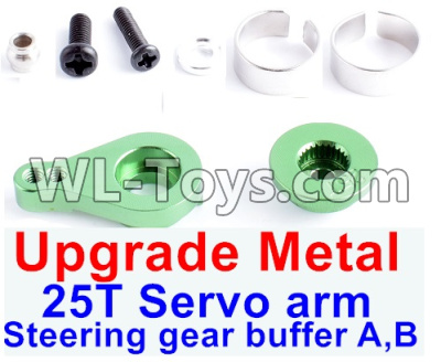 Wltoys 12429 RC Car Upgrade Metal Steering gear buffer A,B & Upgrade 25T Metal Servo Swing Arm-Green-0033,Wltoys 12429 Parts