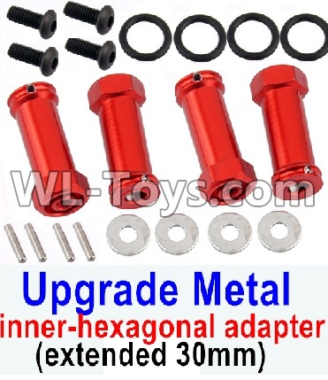 Wltoys 12429 RC Car Parts-SLA010 Upgrade Metal 12mm inner-hexagonal adapter(extended 30mm)-Red,Wltoys 12429 Parts
