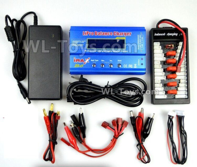 Wltoys 144001 Upgrade Charger unit Parts, Can charger 2s or 3s 6x battery at the same time(Power & B6 Charger & 1-To-6 Parallel charging Board).