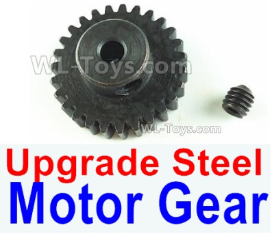 Wltoys 144001 Upgrade Steel motor Gear. Total 1pcs. 0.7 Modulus, Black Color with 27 Teeth.