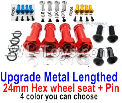 Wltoys 144001 Upgrade Metal Lengthed 24mm Hex Wheel Seat Parts with pins. Total 4 sets. 4 Color you can choose