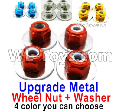 Wltoys 144001 Upgrade Metal Wheels Nuts Parts + Washer Parts. Total 4 sets. 4 Color you can choose
