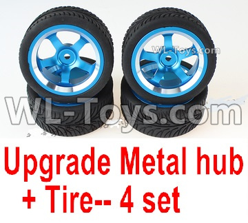 Wltoys 144001 Upgrade Metal wheel hub Parts + Tires Parts. Total 4 sets.