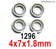 Wltoys 144001 Ball Bearings Parts. The size is 4X7X1.8mm. Total 4pcs. 144001.1296.