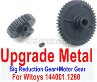 Wltoys 144001 Upgrade Metal Steel Motor Gear Parts.+ Reduction gear Parts. It is perfectly suitable for the 144001 RC Racing Car.
