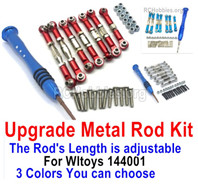 Wltoys 144001 Upgrade Metal Rod Assembly Kit Parts. 3 The color you can choose. Total 7pcs Rod + Screws drivers + screws