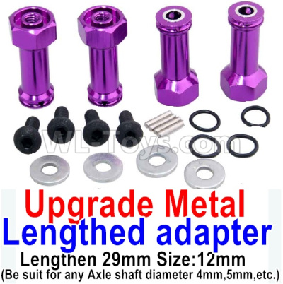 Wltoys 184012 RC Car Upgrade Metal 8mm-to-12mm Lengthed adapter(4 set)-Lengthen 29mm-Purple Truc