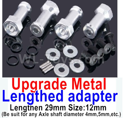 Wltoys 184012 RC Car Upgrade Metal 8mm-to-12mm Lengthed adapter(4 set)-Lengthen 29mm-Silver Truc