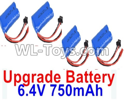 Wltoys 18404 RC Car Upgrade 6.4V 750mAh Battery Parts(4pcs)-52X32X16mm-0914,Wltoys 18404 Parts