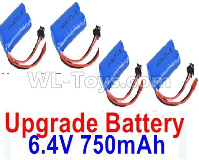 Wltoys 18409 RC Car Upgrade 6.4V 750mAh Battery Parts(4pcs)-52X32X16mm-0914,Wltoys 18409 Parts