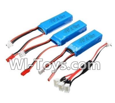 Wltoys A202 A212 A222 Parts-Battery Parts-7.4v 500mah Battery(3pcs) & Upgrade 1-to-3 conversion Charging cable(1pcs)