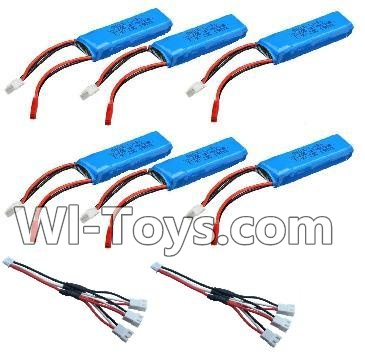 Wltoys A202 A212 A222 Parts-Battery Parts-7.4v 500mah Battery(6pcs) & Upgrade 1-to-3 conversion Charging cable(2pcs)