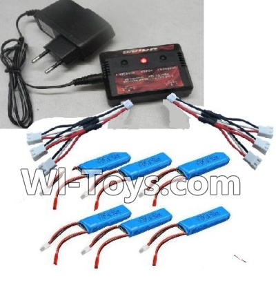 Wltoys A202 A212 A222 Upgrade Parts-Upgrade charger and Balance charger & Battery(6pcs) & Upgrade 1-to-3 wire(2pcs)