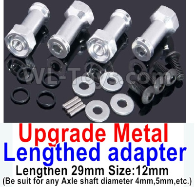 Wltoys A959B A959-B RC Car Upgrade Metal Lengthed adapter Parts(4 set)-Lengthen 29mm-Silver,Wltoys A959B A959-B Parts
