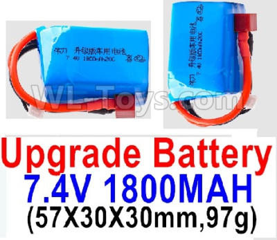 Wltoys A979-B Battery Parts-7.4V 1800mah 20C Battery with Red T Plug(2pcs)-(57X30X30mm,97g),Wltoys A979-B Parts