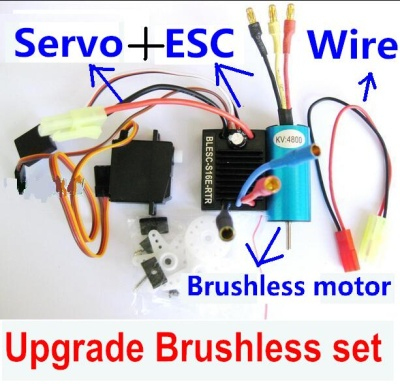 Wltoys A969 Upgrade Parts-Upgrade Brushless Set(Include the Brushless motor,Brushless ESC,Servo and Conversion wire)