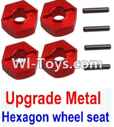 Wltoys 10428-C Upgrade Parts-Upgrade Metal 12MM Hexagon wheel seat Parts,Tire adapter(4pcs)-Red,Wltoys 10428-C Parts