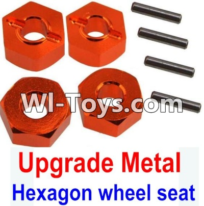 Wltoys 10428-C Upgrade Parts-Upgrade Metal 12MM Hexagon wheel seat Parts,Tire adapter(4pcs)-Orange,Wltoys 10428-C Parts