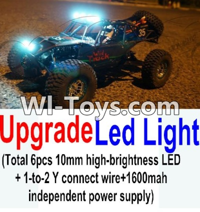 Wltoys 10428-C Upgrade Parts-Upgrade LED light unit Parts(Total 6pcs Light and 1pcs 1-TO-2 Y-shape connect wire & 1600MAH Independent power supply),High speed 1:10 Scale 4wd Car Part