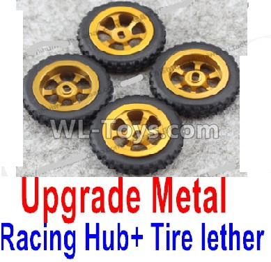 Wltoys K999 Upgrade Metal Racing Hub Parts(4pcs) & Upgrade Racing Trie lether(4pcs)-Yellow,Wltoys K999 Parts