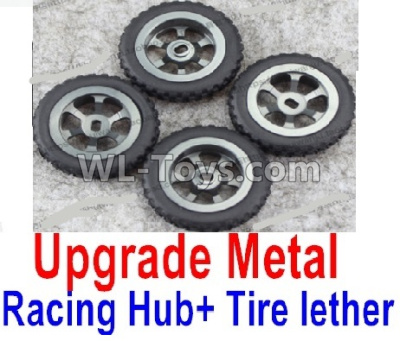Wltoys K999 Upgrade Metal Racing Hub Parts(4pcs) & Upgrade Racing Trie lether(4pcs)-Black,Wltoys K999 Parts