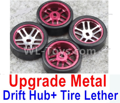 Wltoys P929 Upgrade Metal Drift Hub Parts(4pcs) & Upgrade Drift Trie lether(4pcs)-Purple,Wltoys P929 Parts