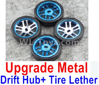 Wltoys P929 Upgrade Metal Drift Hub Parts(4pcs) & Upgrade Drift Trie lether(4pcs)-Blue,Wltoys P929 Parts