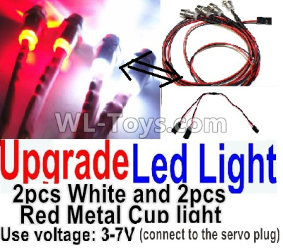 Wltoys K999 Upgrade LED light unit(Total 4pcs Light-2 Red and 2 White-voltage 3-7V),Wltoys K999 Parts