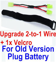 GPToys 9116 Parts Upgrade 2-to-1 wire and Velcro-Two battery can be used together,Run 2x Time than usual Parts,GPToys 9116 RC Car Parts