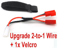 XinLeHong Toys 9145 Parts-Upgrade 2-to-1 wire and Velcro-Two battery can use together,Run 2x Time than usual,Brushless XinleHong 9145 1/20 RC Car Parts