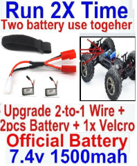 Hosim 9145 Parts-Upgrade 2-to-1 wire and Velcro & 2pcs Battery-Two battery can Be used together,Run 2x Time than usual,Brushless Hosim 9145 1/20 RC Car Parts