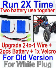 Foxx S911 Parts Upgrade 2-to-1 wire and Velcro & 2pcs Battery-Two battery can be used together,Run 2x Time than usual,JYRC Foxx S911 Parts S911 RC Monster Truck Spare parts Accessories,1:12 4WD Brush High Speed Bu