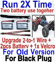 XinleHong Toys 9120 RC Car Parts-Upgrade 2-to-1 wire and Velcro & 2pcs Battery Parts-Two battery can use together,Run 2x Time than usual,XinleHong 9120 RC Car Parts